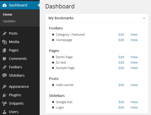 Admin Bookmarks - dashboard widget